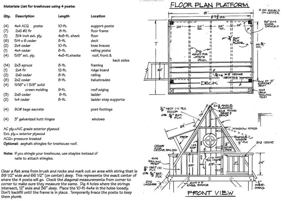 tree house plan 1 - Tree House Plans Metal Crate