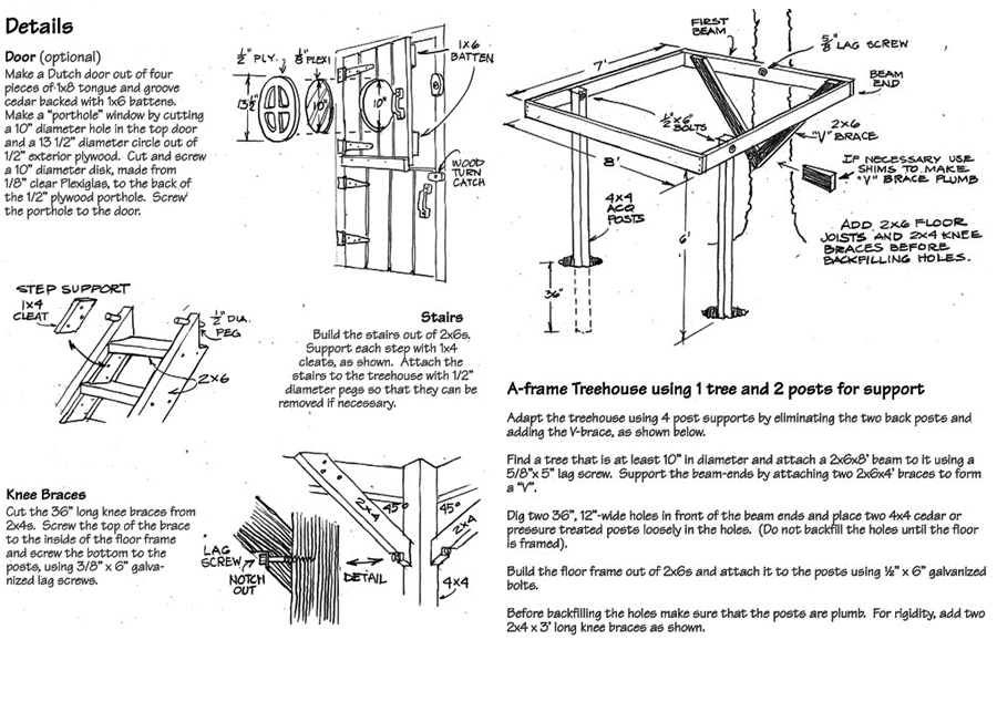 construct an a frame tree house in your backyard